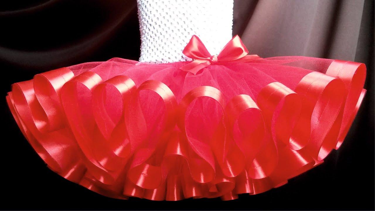 Сшить юбку из атласных лент