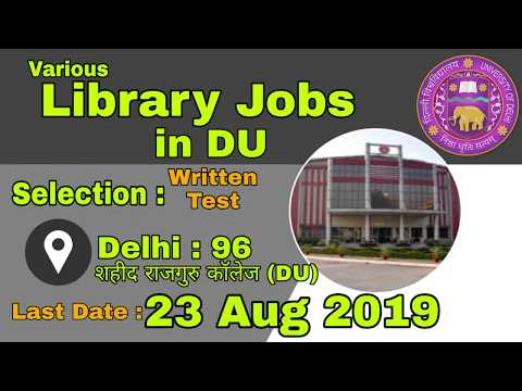 Library Jobs In DU   SPA MTS Etc   LIS Jobs For Freshers   Contractual Job