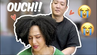 Korean Husband Tries To straighten My Curly Natural hair
