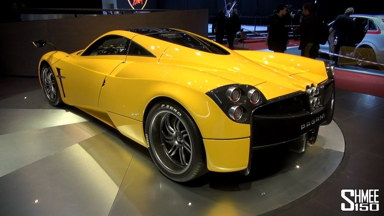 FIRST LOOK: Yellow Pagani Huayra at Geneva 2014 - YouTube