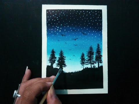 easy painting for beginners (Night sky) / step by step landscape painting tutorial