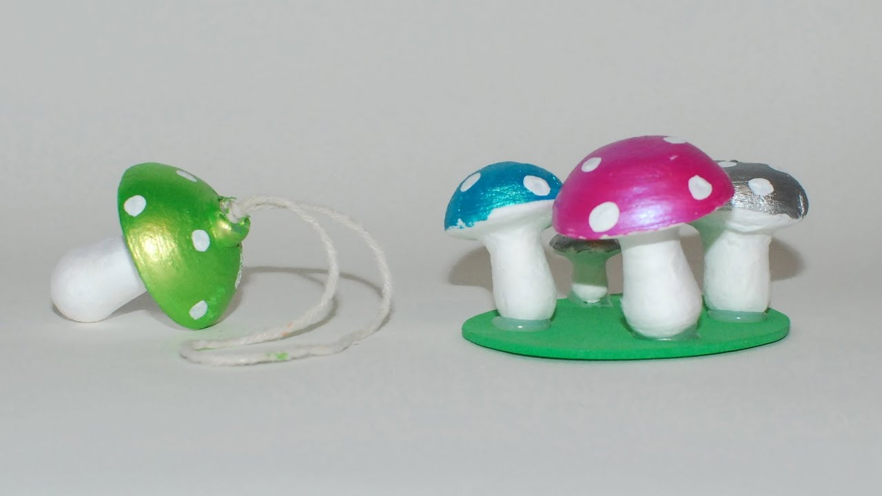 Mushroom craft ideas hand painted spun cotton ornaments for Hand work from waste materials