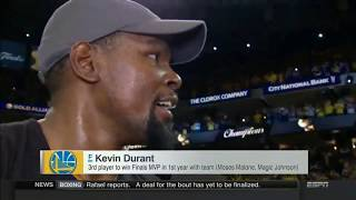 Kevin Durant Postgame Interview Finals MVP & Winning First Championship | Warriors vs Cavs Game 5