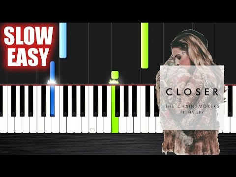 The Chainsmokers - Closer ft. Halsey - SLOW EASY Piano Tutorial by PlutaX