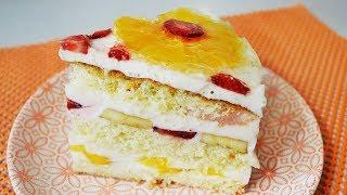 Простой бисквитно-фруктовый торт