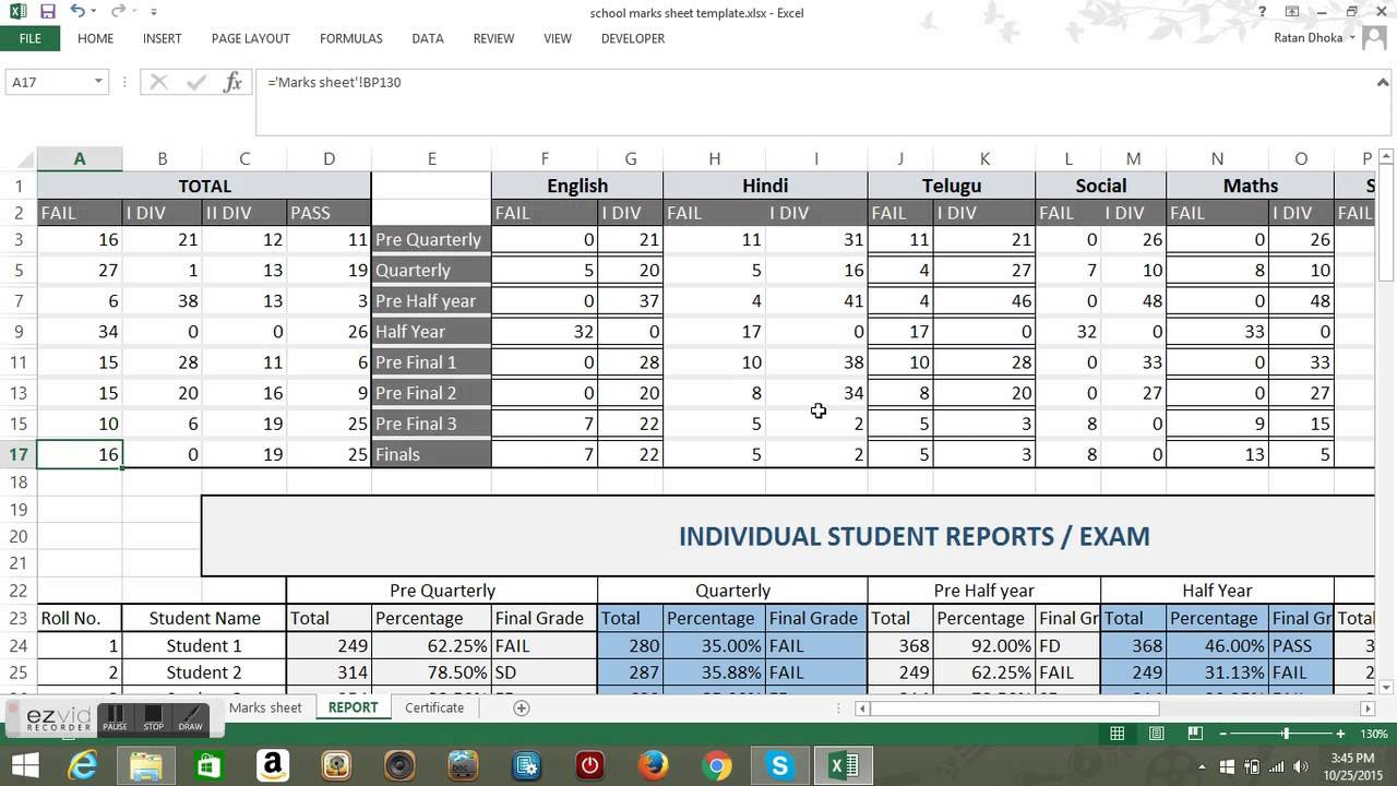 students academic performance tracker template youtube