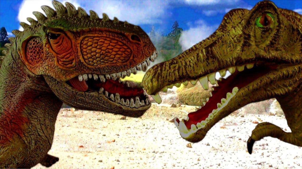 Dinosaur Fight SPINOSAURUS vs GIGANOTOSAURUS Battle Kids ...Giganotosaurus Vs Spinosaurus