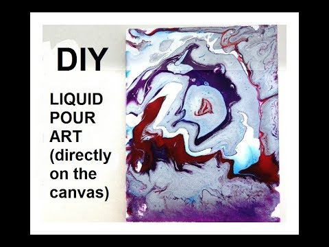 liquid pour canvas art, directly on the canvas, paint and water – no silicone