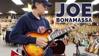 Joe Bonamassa with his Gibson Prototype Les Paul Tobacco Burst at Norman\'s Rare Guitars