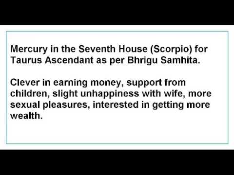 Mercury in the Seventh House for Taurus Ascendant as per