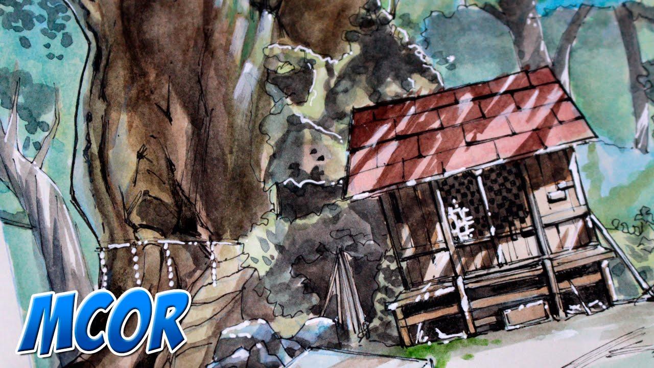 Worksheet. Dibujando Paisaje del Anime Totoro  Acuarela  YouTube