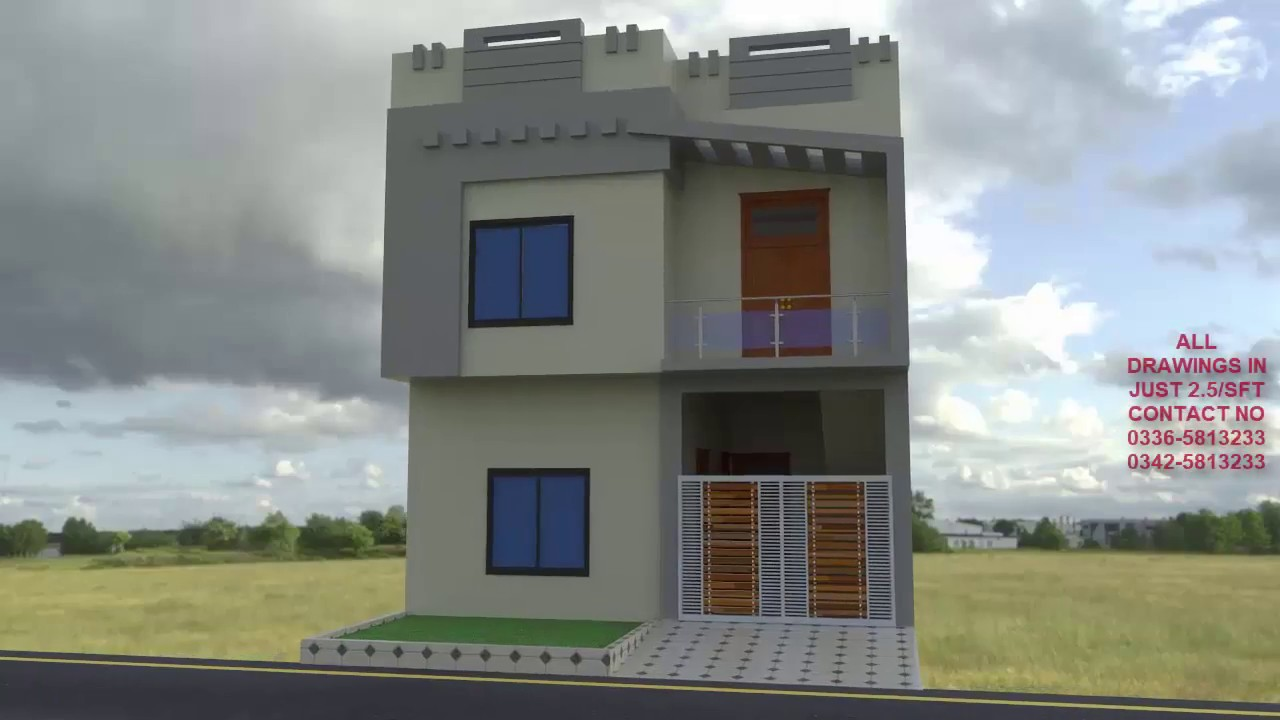 Front Elevation Of 3 Marla House : Marla house nomania building designer d front