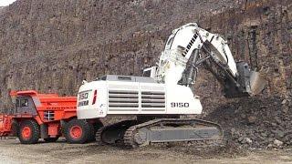 Liebherr R9150 Mining Excavator And Hitachi EH1100-5 Dump Truck @ Steinexpo 2014