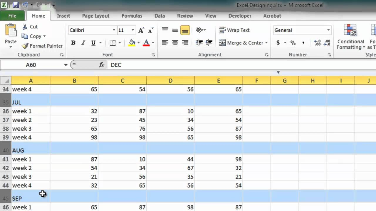 excel spreadsheet designs