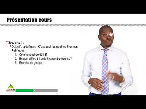 Enseignement Numérique à l'USSEIN, Présentation du cours sur La Finance Publique