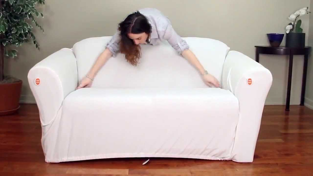 one arm sofa slipcover wrought iron table legs cabersurefit piece stretch how to video youtube