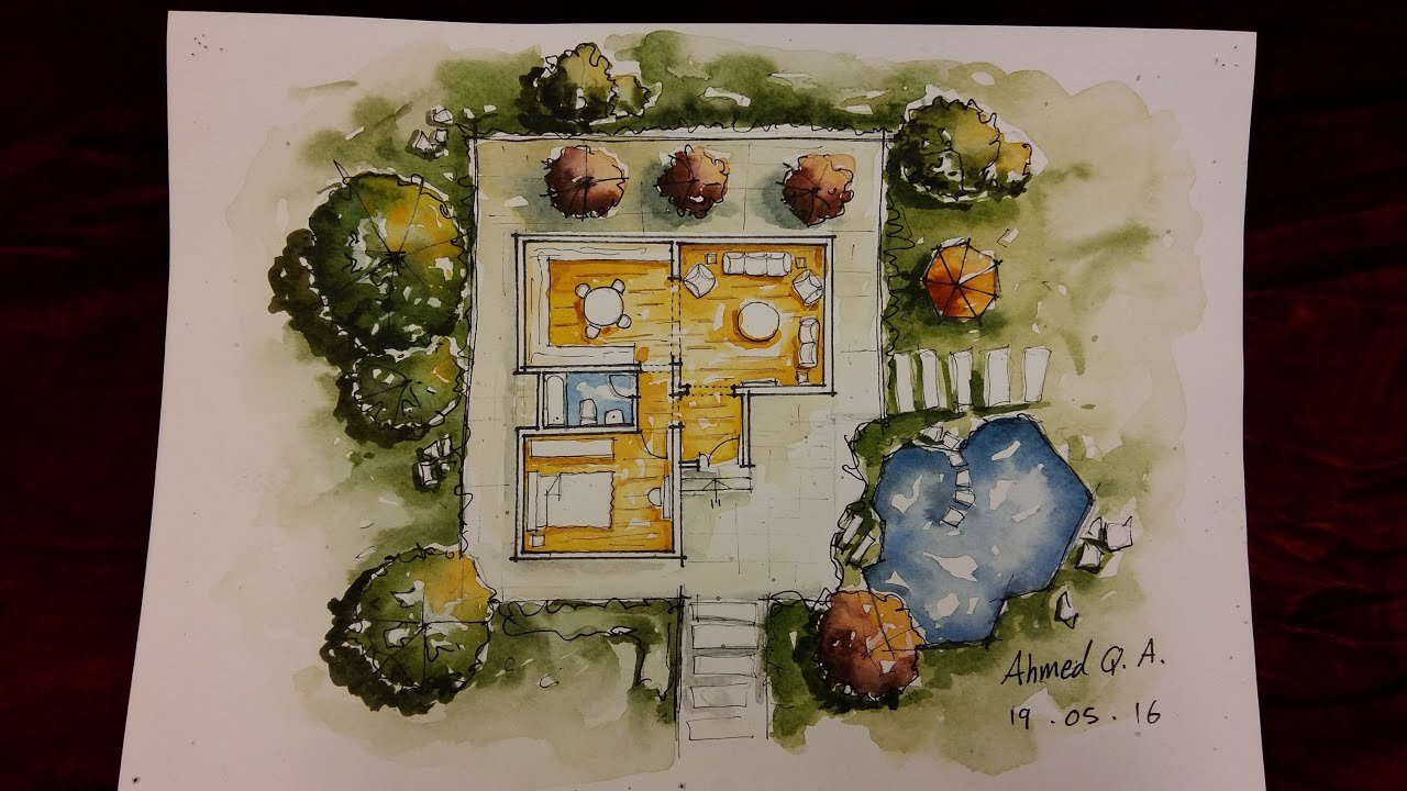 Ground Floor Plan Rendering by Watercolour YouTube – Rendered Site Plan