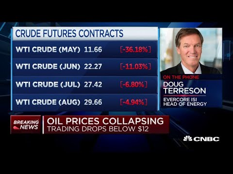 WTI crude prices collapse as trading drops below $12