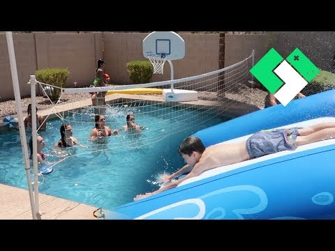 Huge Pool Party For The Volleyball Team | Clintus.tv