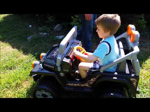 baby-and-six-year-old-get-fisher-price-power-wheels-tough-talking-jeep-wrangler!