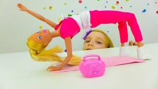 Игры для девочек Барби и Катя. Фитнес, йога и здоровое питание.