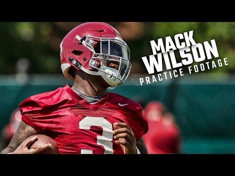 Mack Wilson runs drills during day two of Alabama