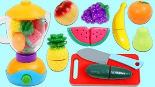 Making Pretend Slime Smoothies with Toy Velcro Cutting Fruit & Toy Blender!