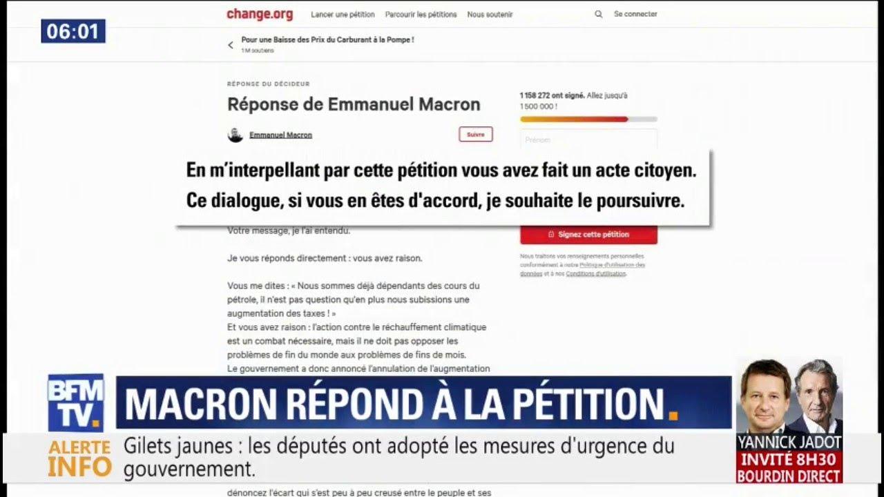 """""""Vous avez raison."""" La réponse en ligne d'Emmanuel Macron à une pétition sur les prix"""