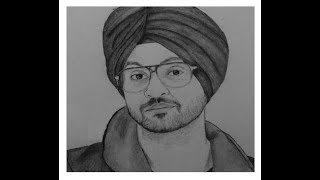 """How to draw """"Diljit Dosanjh Face"""" pencil drawing step by step"""