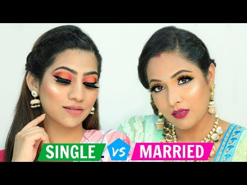 SINGLE vs MARRIED Makeup Challenge .. | Festive Makeup For Beginners | #ShrutiArjunAnand #Anaysa thumbnail