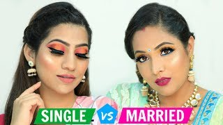SINGLE vs MARRIED Makeup Challenge .. | Festive Makeup For Beginners | #ShrutiArjunAnand #Anaysa