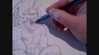 Gargoyle Drawing Video Art