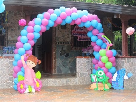 DECORACION BASICA MONSTER INC - UNIVERSITY CON GLOBOS - YouTube