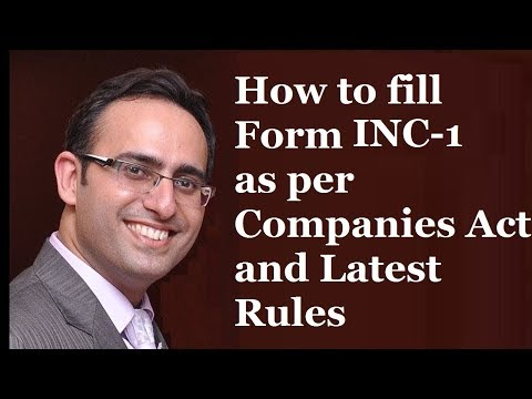 Incorporation of a Company (Part-1) Form INC-1