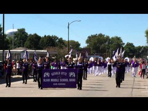 Otte Blair Middle School band at the Nebraska City AppleJack parade 9/19/2015.