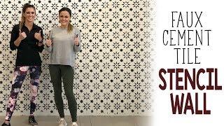 Faux Cement Tile Stencil Wall Tutorial