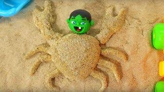 SUPERHERO BABY MAKING SAND FIGURES ❤ SUPERHERO PLAY DOH CARTOONS FOR KIDS