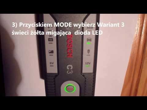 Obsługa  prostownika automatycznego  BOSCH C3  i ładowanie akumulatora samochodowego 12V
