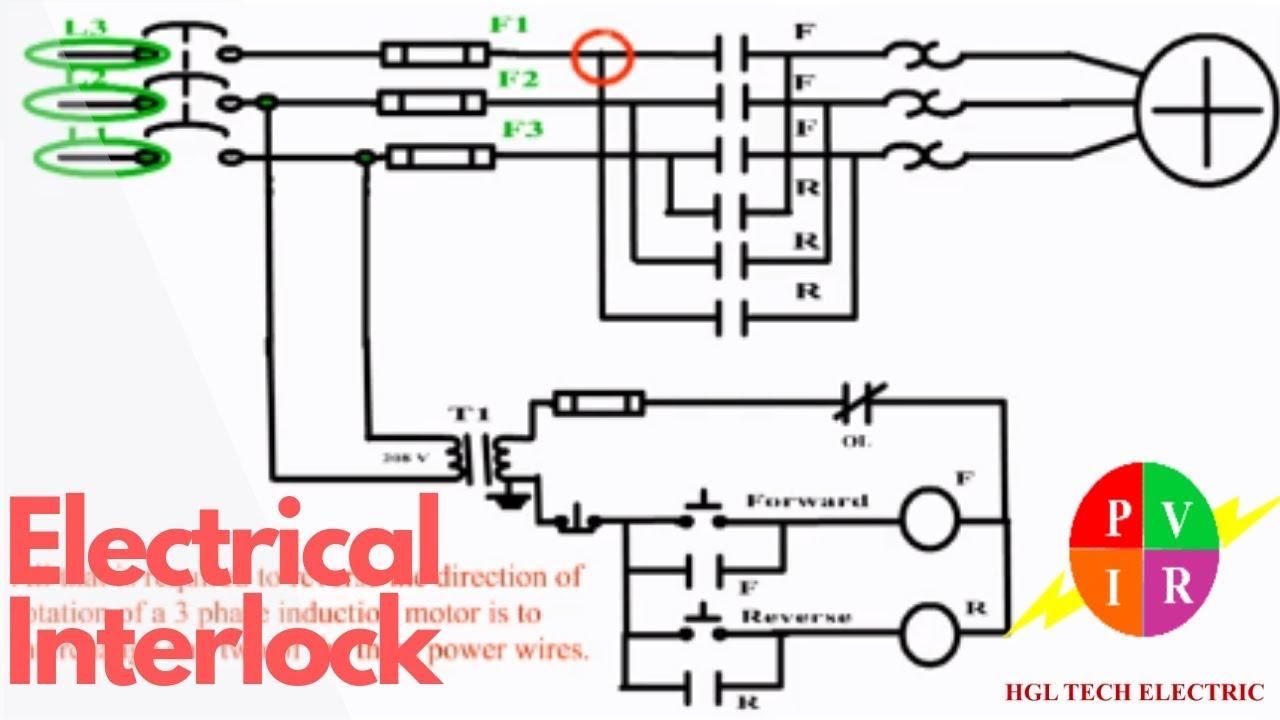 Wiring Diagram For 3 Phase Forward Reverse Starter Motor Fender Stratocaster Pickups Electrical Interlock. Control Reverse. Circuit Diagram. - Youtube