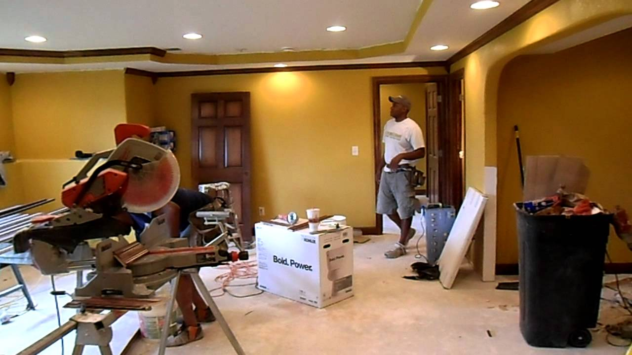 Installing Maple Crown Molding On Basement Tray Ceiling & Installing Maple Crown Molding On Basement Tray Ceiling - YouTube