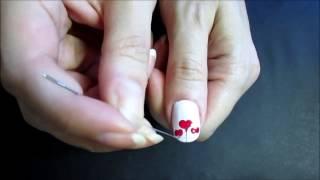 Простой рисунок на ногтях иглой 3.Дизайн ногтей с сердечком(Дизайн ногтей с сердечком.Легкий в исполнении рисунок