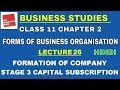 Business Studies Class 11 Chapter 2 Lec. 26 FORMATION OF COMPANY | STAGE 3: CAPITAL SUBSCRIPTION