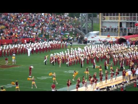 Iowa State Cyclone Marching Band Pre-game Finish 9/3/2011 CYCLONES, Fights & team entrance