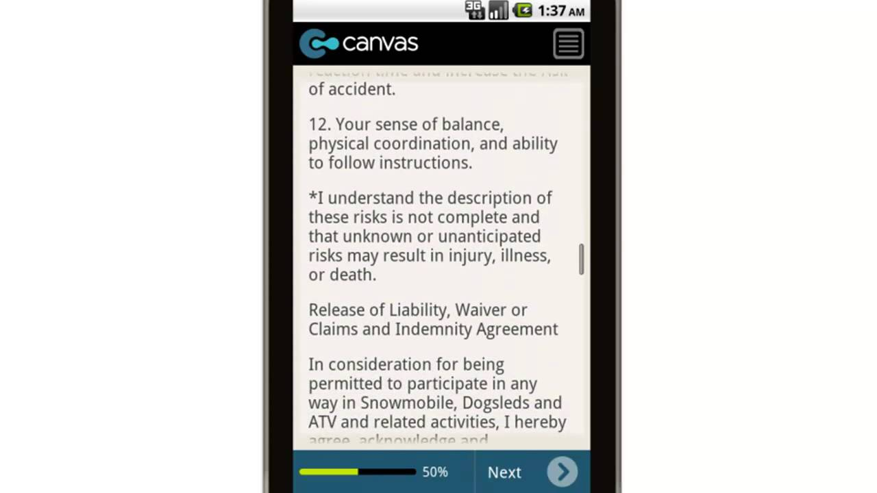 Canvas Snowmobile Release Of Liability And Assumption Of Risk