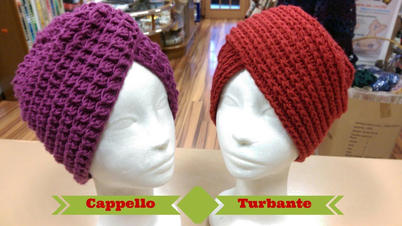 Tutorial  Cappello Turbante ai ferri e all uncinetto - spiegazione punto  costa americana ai ferri - YouTube 64e5042dc14