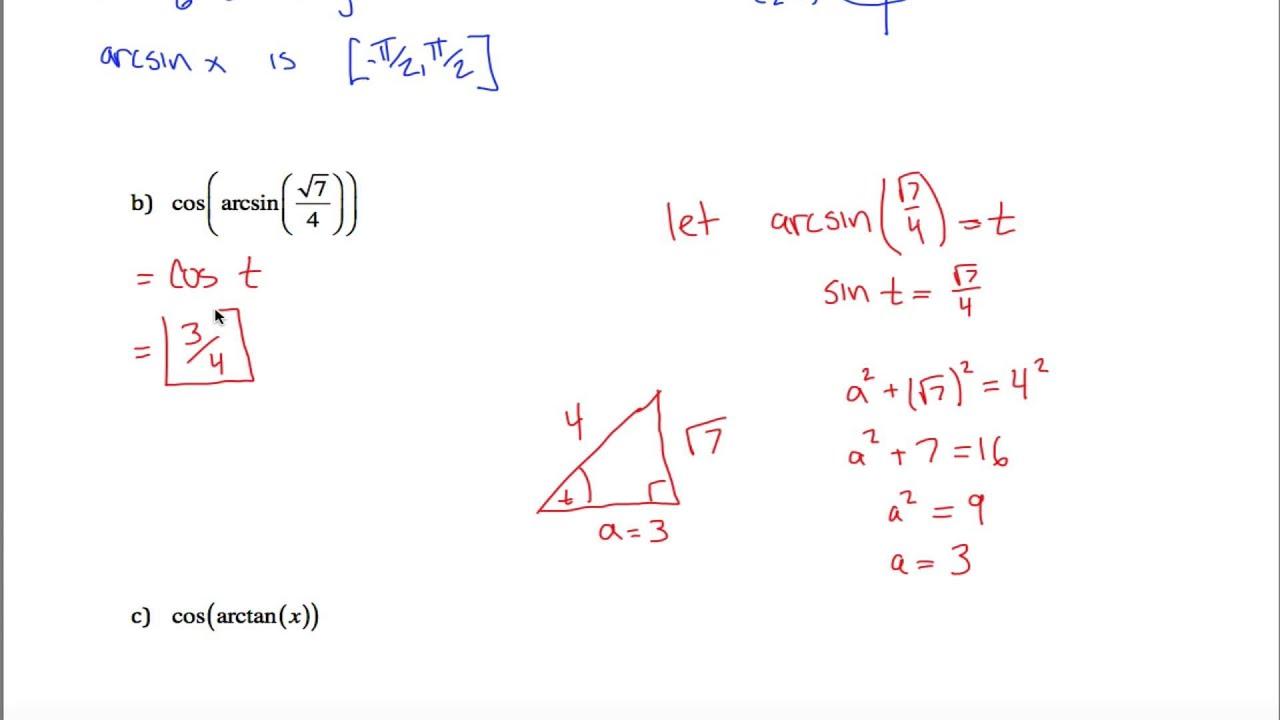 Inverse Trig and Trig Simplification Quiz - YouTube