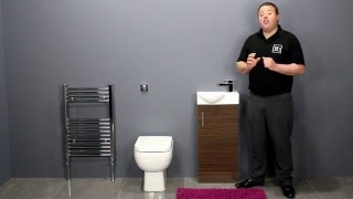 Back To Wall Toilet & Walnut Vanity Unit Bathroom Furniture for Small Bathrooms
