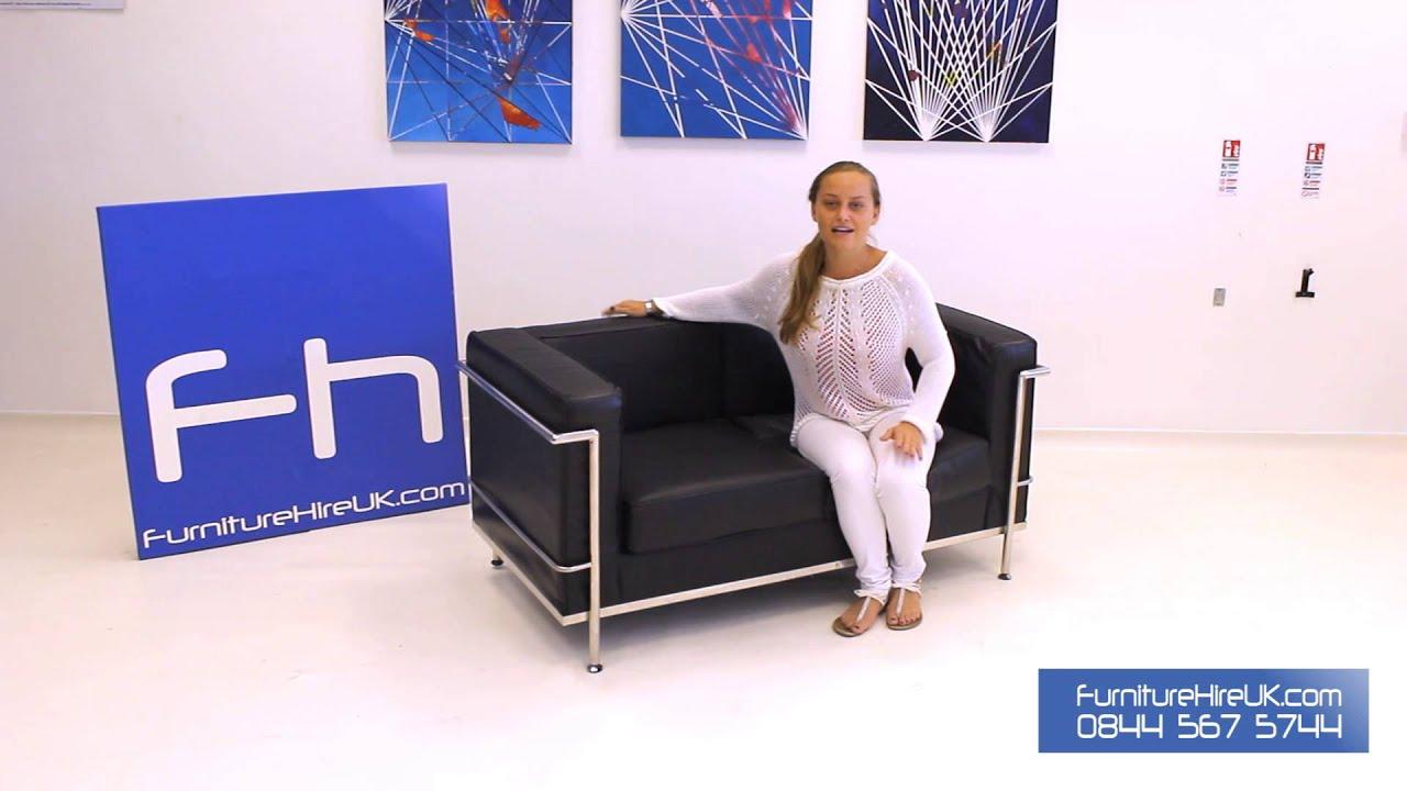 2 Seater Black Corbusier Sofa Demo - Furniture Hire UK