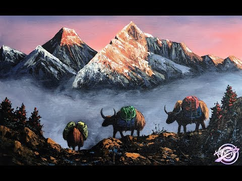 Simple Mountain And Yaks Painting | Sunrise Painting | Landscape Painting |  Art Candy (Mt. Everest)