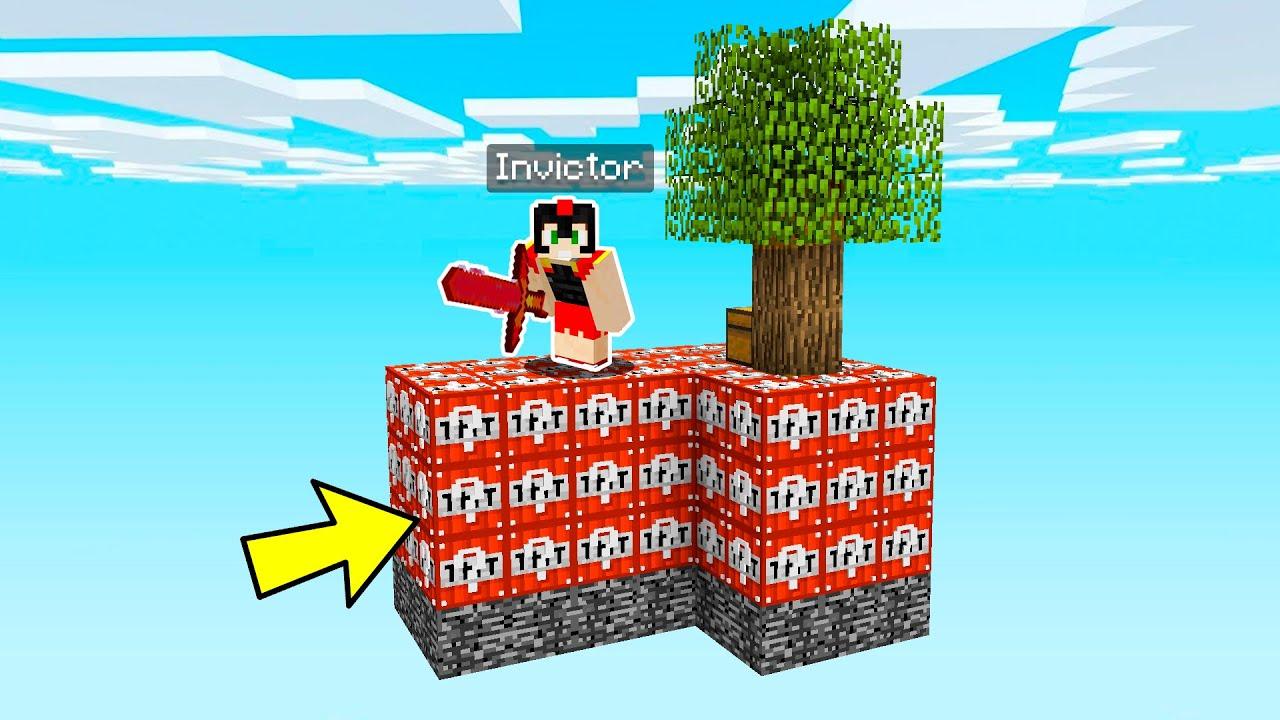¡Juego un SKYBLOCK de TNT LUCKY BLOCKS! 😂🔥 Minecraft Invictor Los Compas